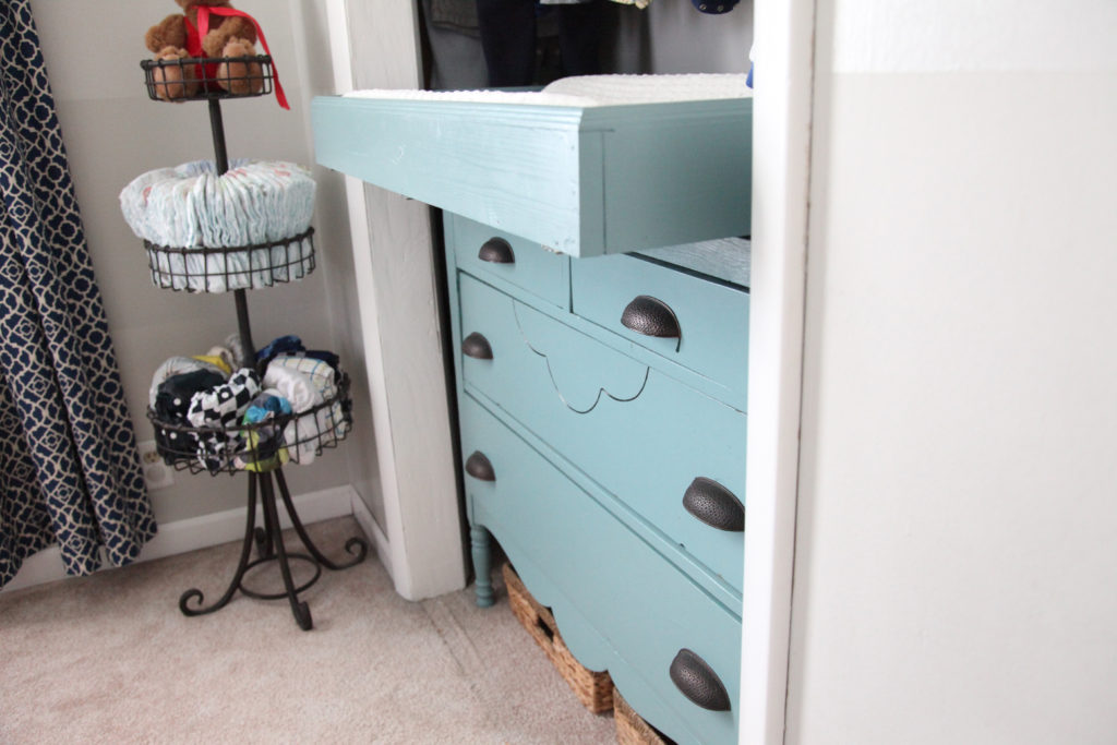 Slide out DIY changing table for nursery
