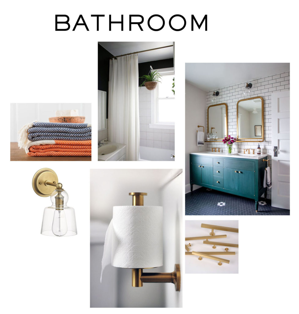 Mood board inspiration for hall bathroom, green painted vanity, gold scones, turkish towels, gold hardware and a floor to ceiling curtain