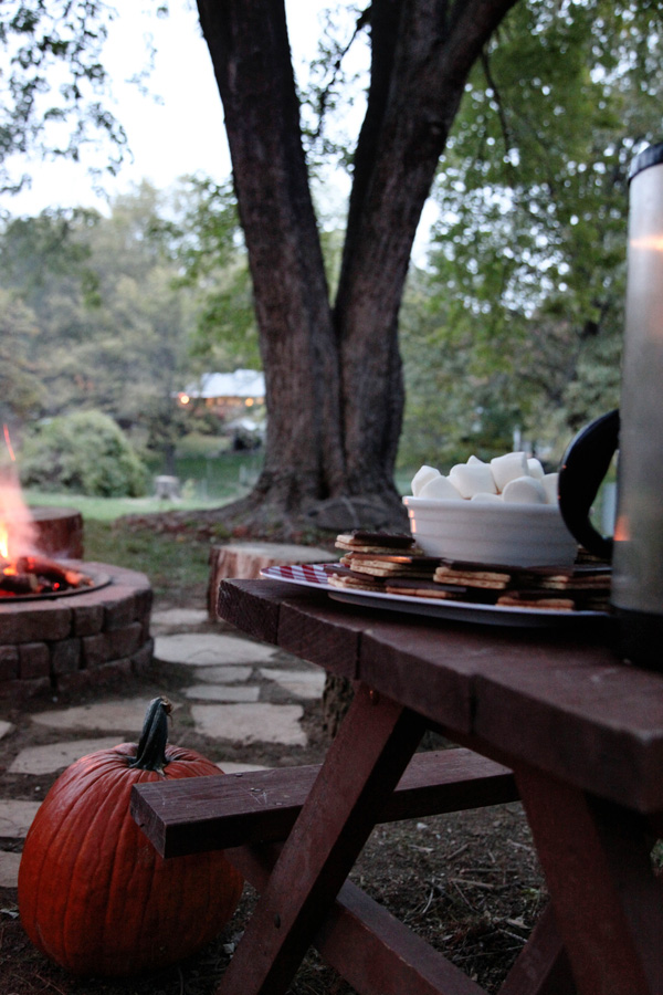 fall s'mores night with diy fire pit plaid blankets coffee beer