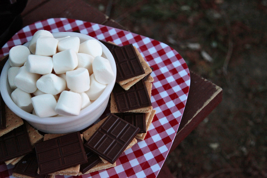 Marshmellows, chocolate, graham cracker bonfire night