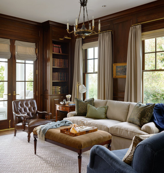 How to decorate a dark paneled wood wall room