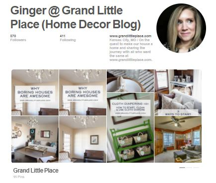 Screenshot of Grand Little Place Home Decor DIY Encouragement Blog Pinterest Account Page