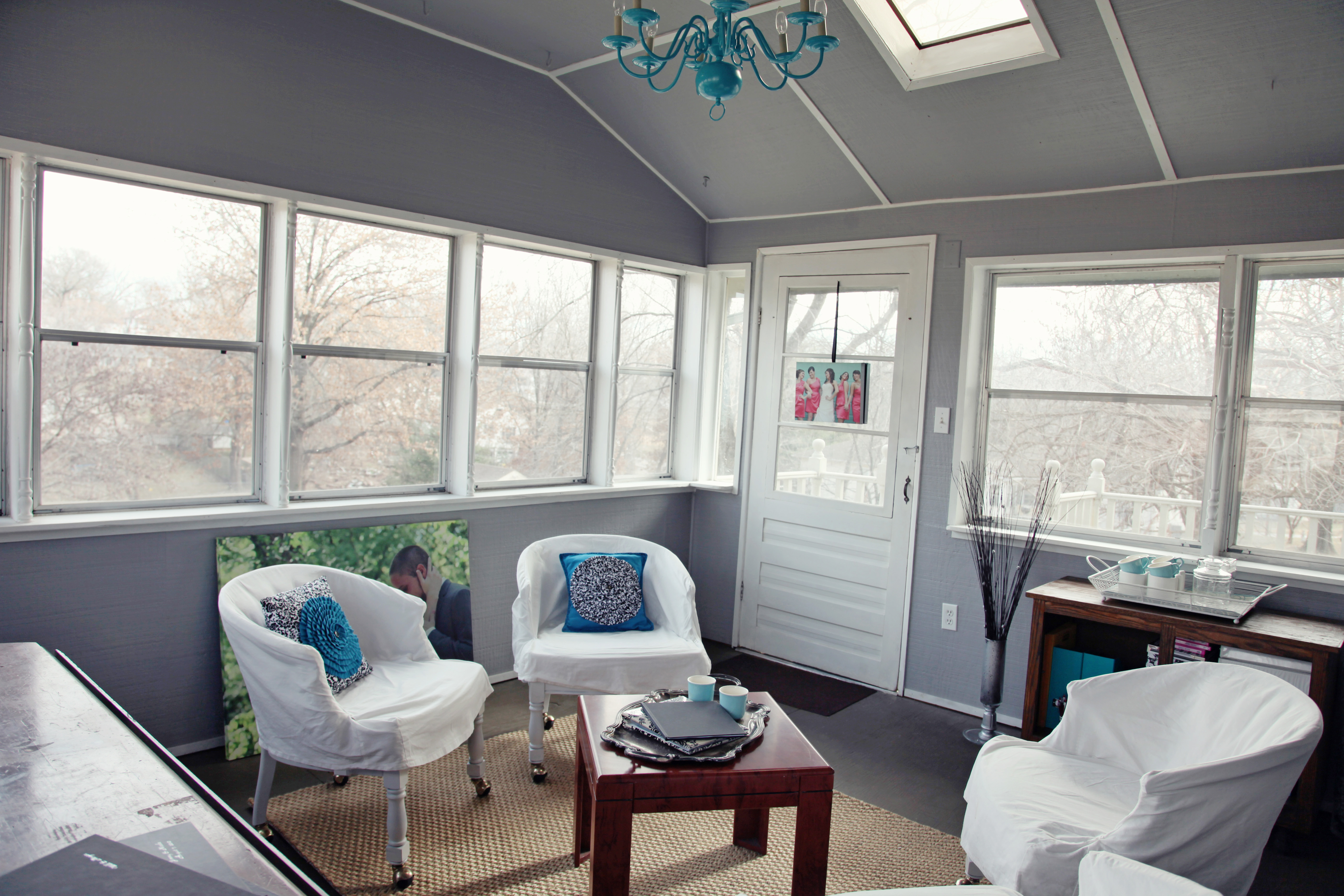 Grey, turquoise and white sun room turned into a home office for Sarah & Ginger Photography, Kansas City, MO