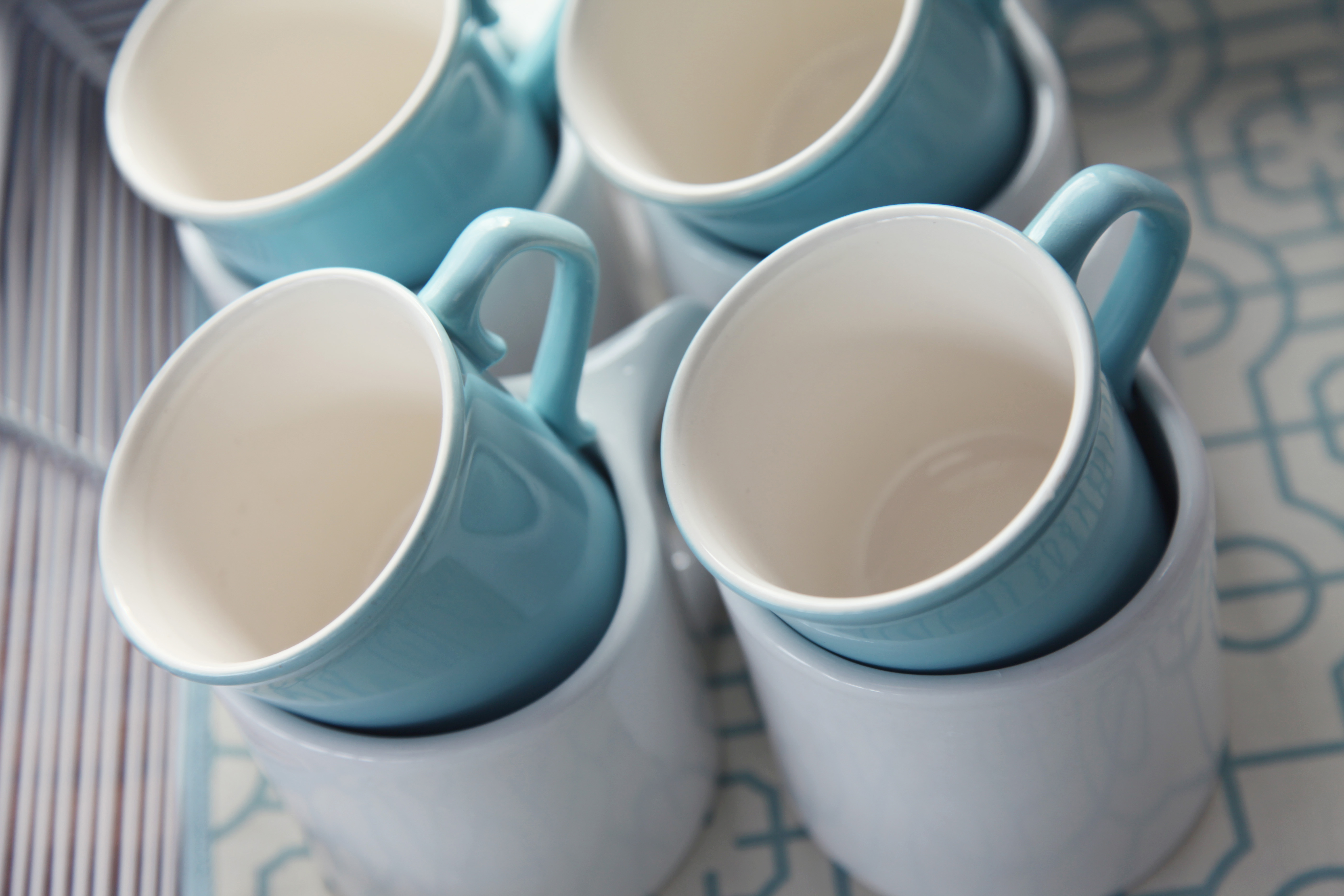 Tiffany Blue and White Coffee Mugs