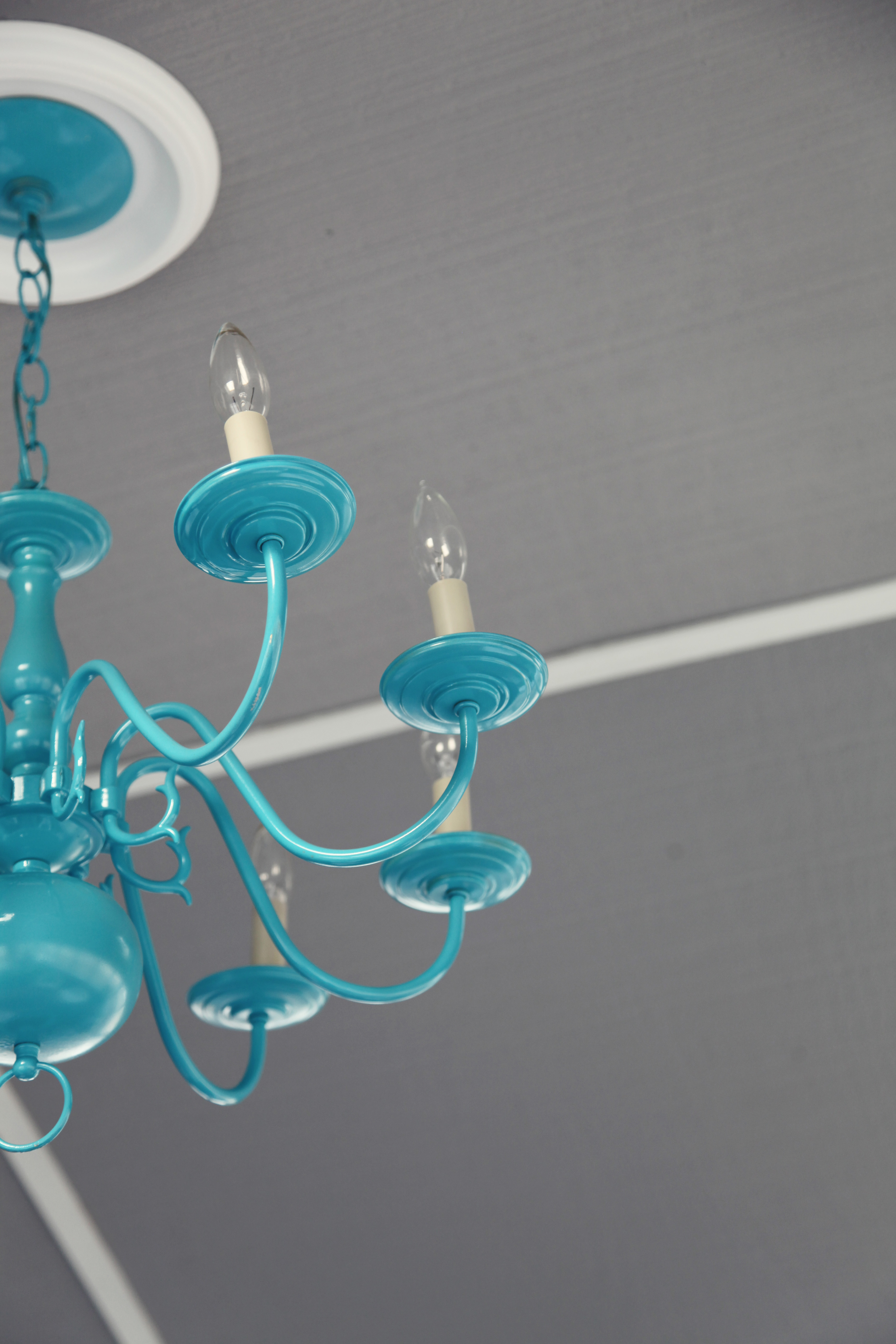 Pop of Color Turquoise Spray Painted Chandelier