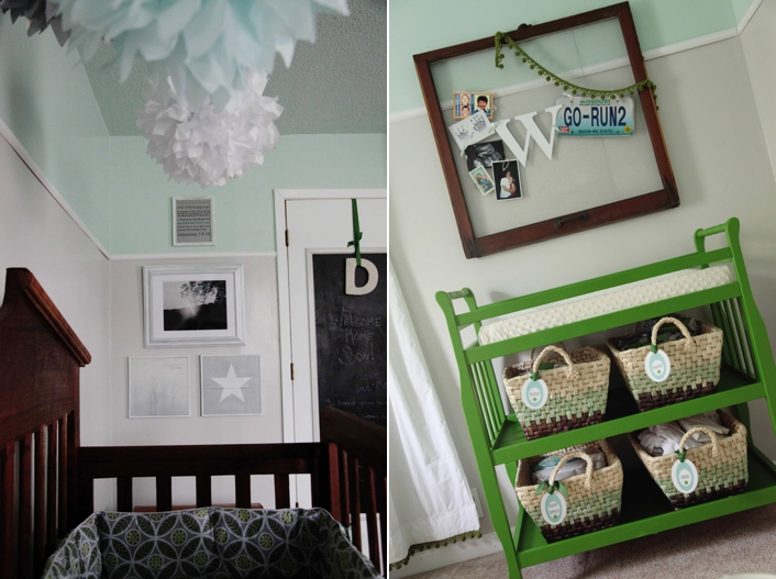 black and white gallery wall in nursery