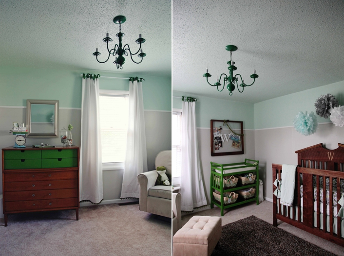 DIY Nursery on a budget with painted chandelier, changing table and custom crib