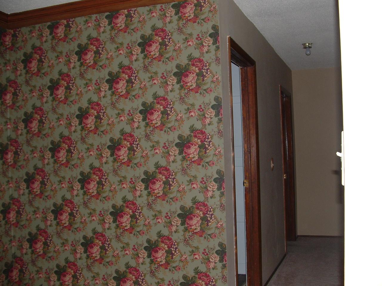 sage green cabbage wallpaper in hallway