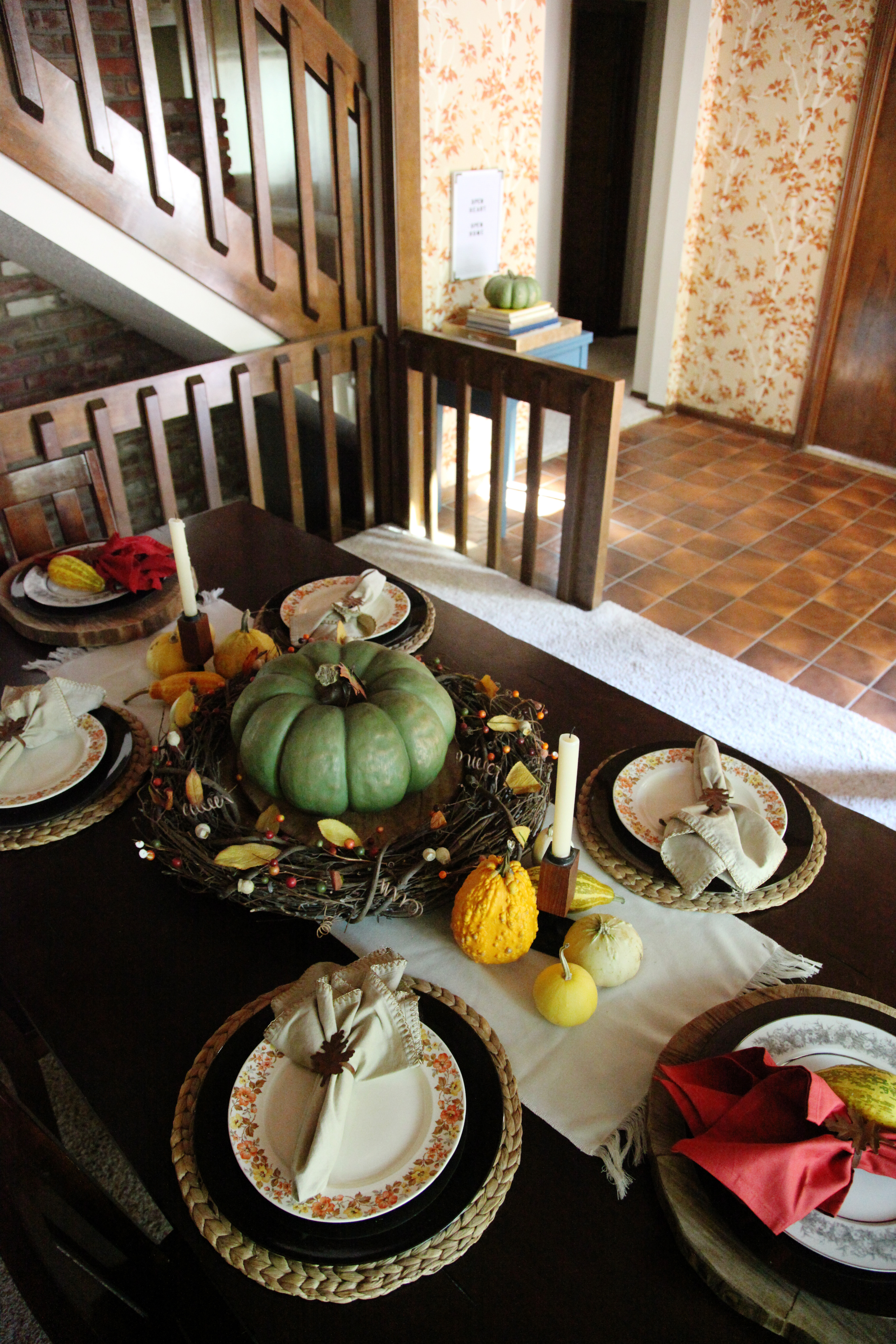 Traditional American Thanksgiving Tablescape Fall Table Set Up