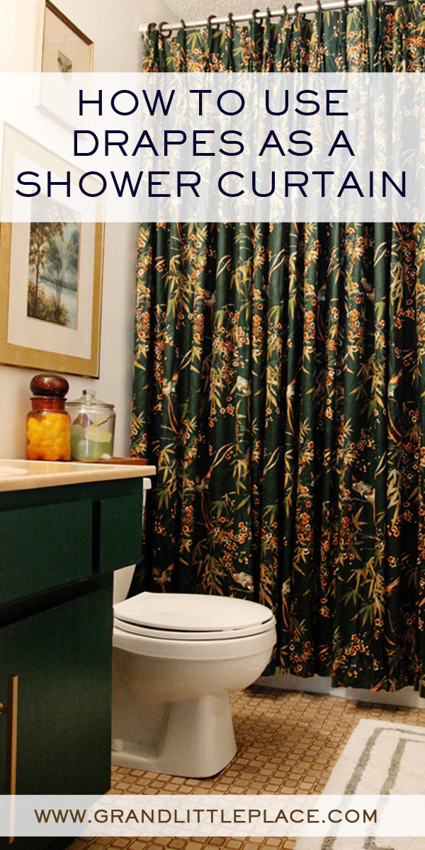 Using Curtains As Shower Curtains.Shower Curtain Update Using Drapery Panels Grand Little Place